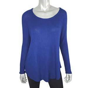 Chaser Womens Blue Waffle Knit Top Size L